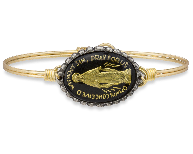 Mother mary intaglio bangle bracelet in black petite silver tone