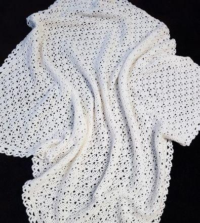 Crochet Pattern Baby Blanket Afghan Easy Lace Knitting