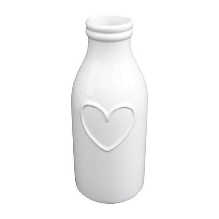 Country Heart Bottle Vase is part of Country Home Accessories Colour - Embossed with a heart across the face, this milk bottle shaped earthenware vase is finished in a glossy offwhite colour