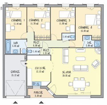 Plan Maison Neuve À Construire - Les Maisons De Manon Laurine 120