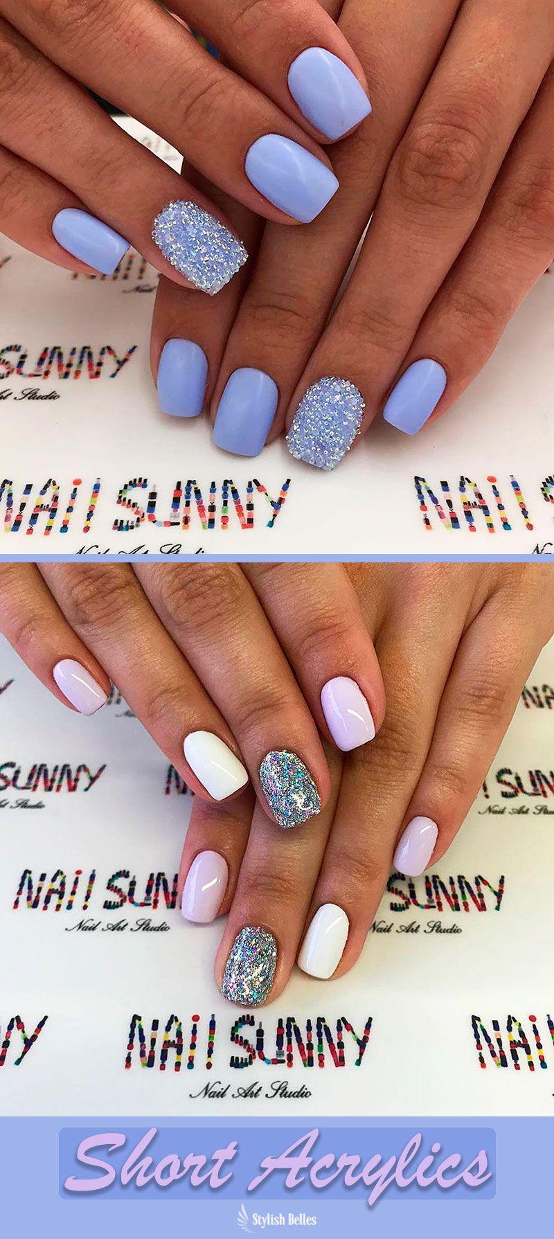 So Cute Short Acrylic Nails Ideas You Will Love Them Short Acrylic Nails Winter Nails Acrylic Shiny Nails Designs