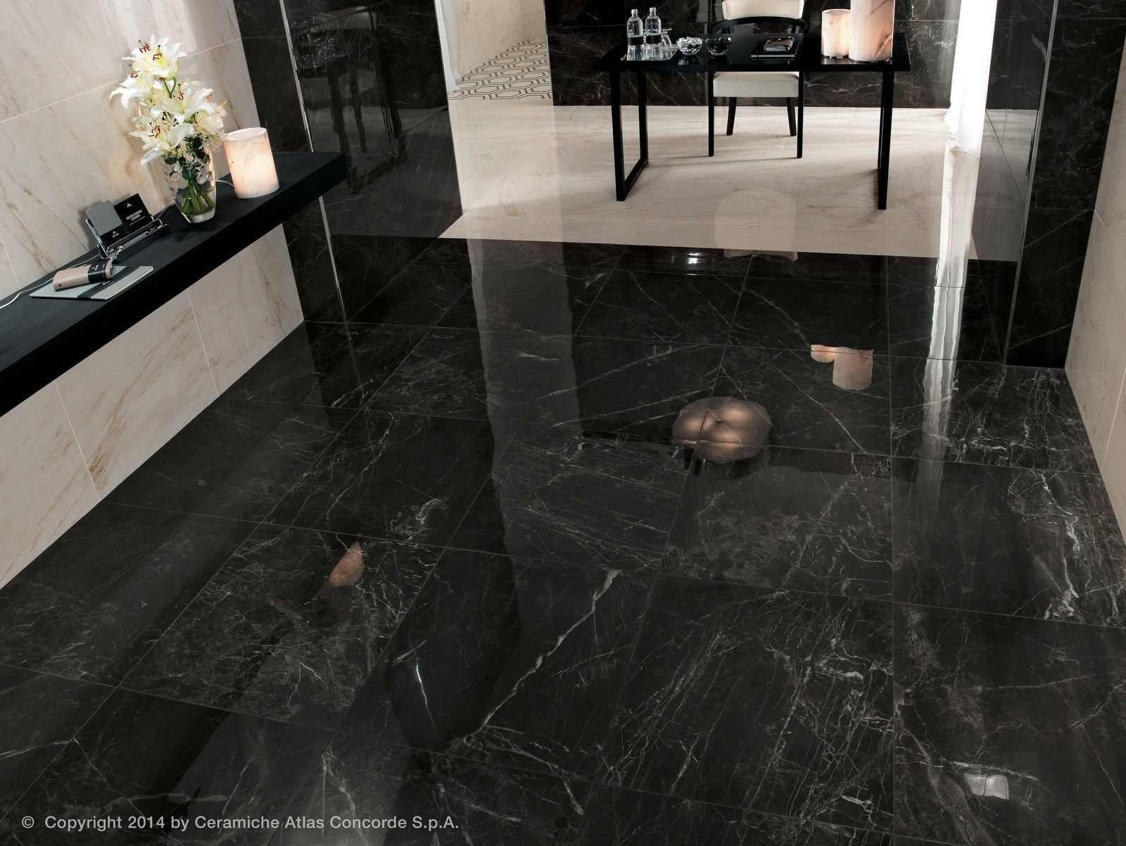 Indoor Outdoor Porcelain Stoneware Flooring With Marble Effect