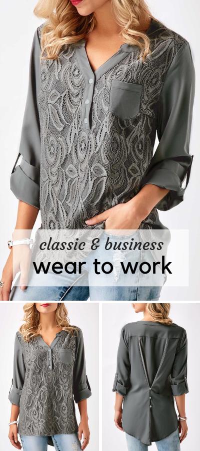 fcf04189518 USD31.11 Lace Panel Split Neck Roll Tab Sleeve Blouse