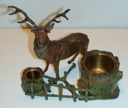 Vienna Bronze Cold Painted Vesta or Inkwell Stag at Fence - Outstanding Marketplace, Better Shopping!  http://trembu.com/