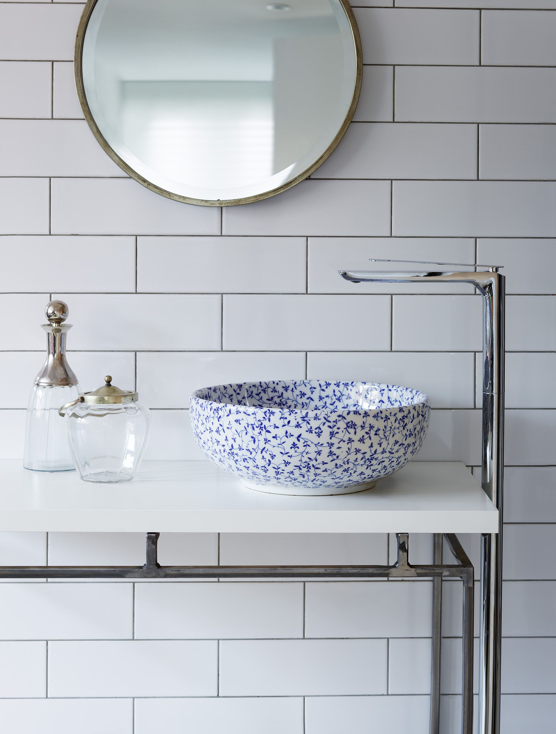 Blue and white delicate floral basin which oozes French country ...