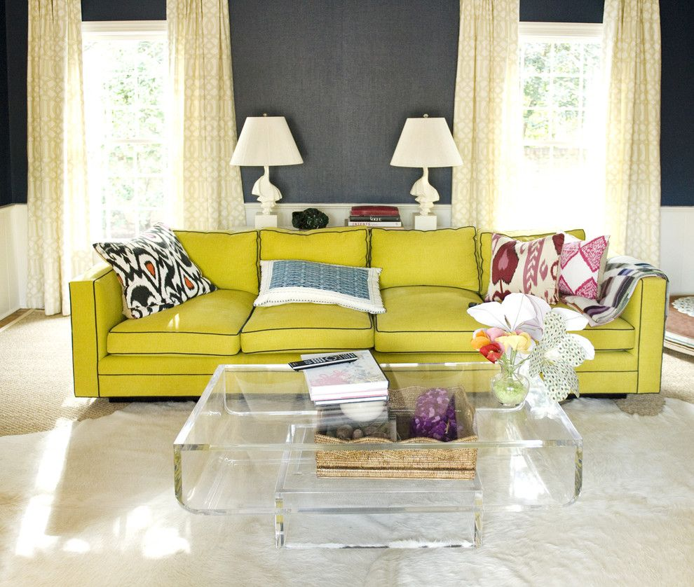 Chartreuse Sofa Lucite Coffee Table With Images Eclectic
