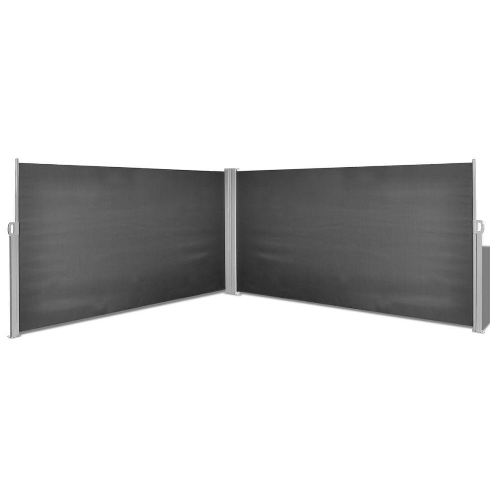 Doppel Seitenmarkise Sichtschutz Seitenrollo Windschutz 160x600cm