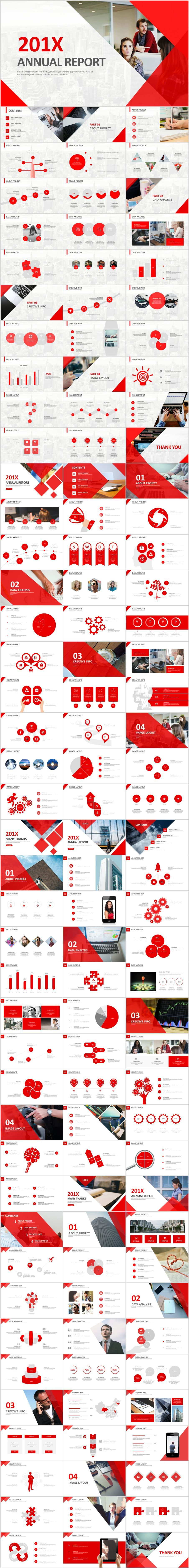 4 in 1 red annual report PowerPoint templatesThe highest quality PowerPoint Templates and Keynote Templates download