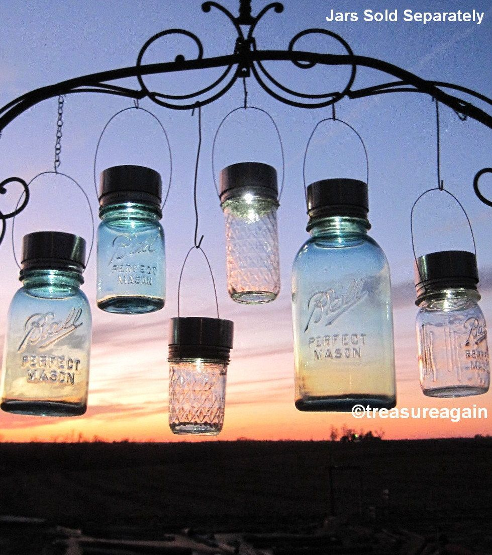 Garden Solar Jar Lights 6 Mason Jar Solar Lids By Treasureagain, $62.00