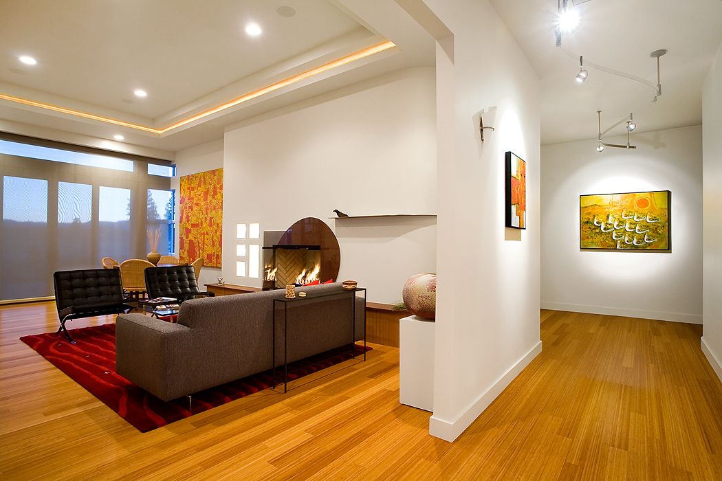 Contemporary Living Room And Hallway