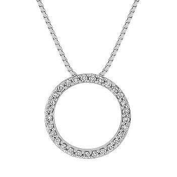Classic Diamond Circle Pendant (18 in.) This stylish circle pendant is made up of 29 round diamonds, at approximately .24 carat total weight.  Hand-matched for supreme sparkle and fire, these dazzling gems are set in quality 14 karat white gold. The beguiling design hangs from a matching 18-inch box chain. #ShaneCoLBD
