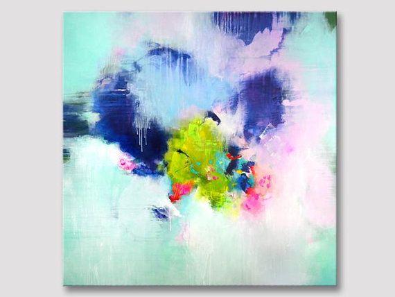 Original Xxl Abstract Painting Abstract Art Dark Blue Pink