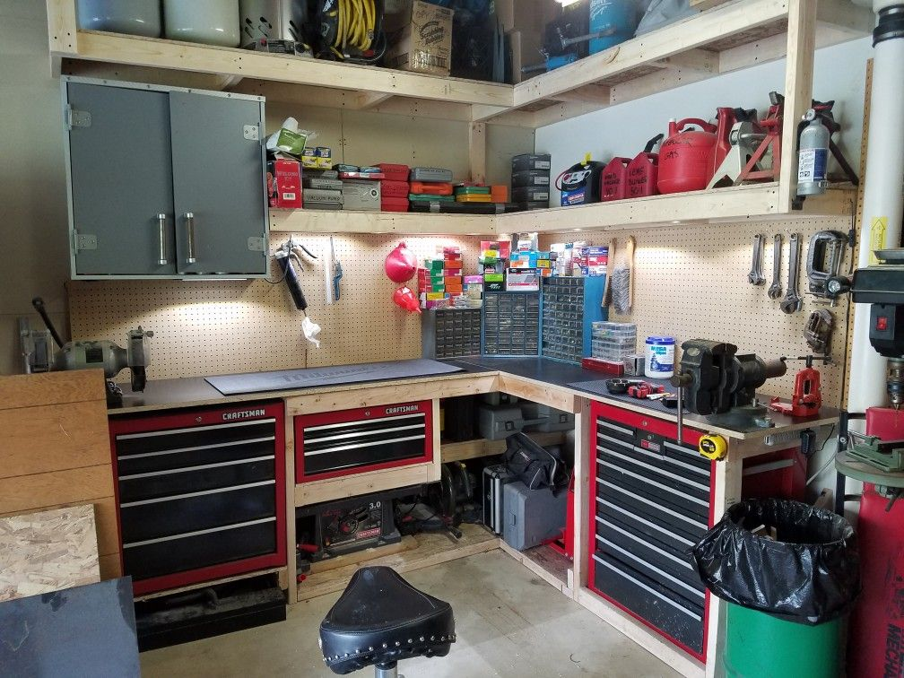 Garage Corner Workbench Ideas Diy And Crafts Pinterest