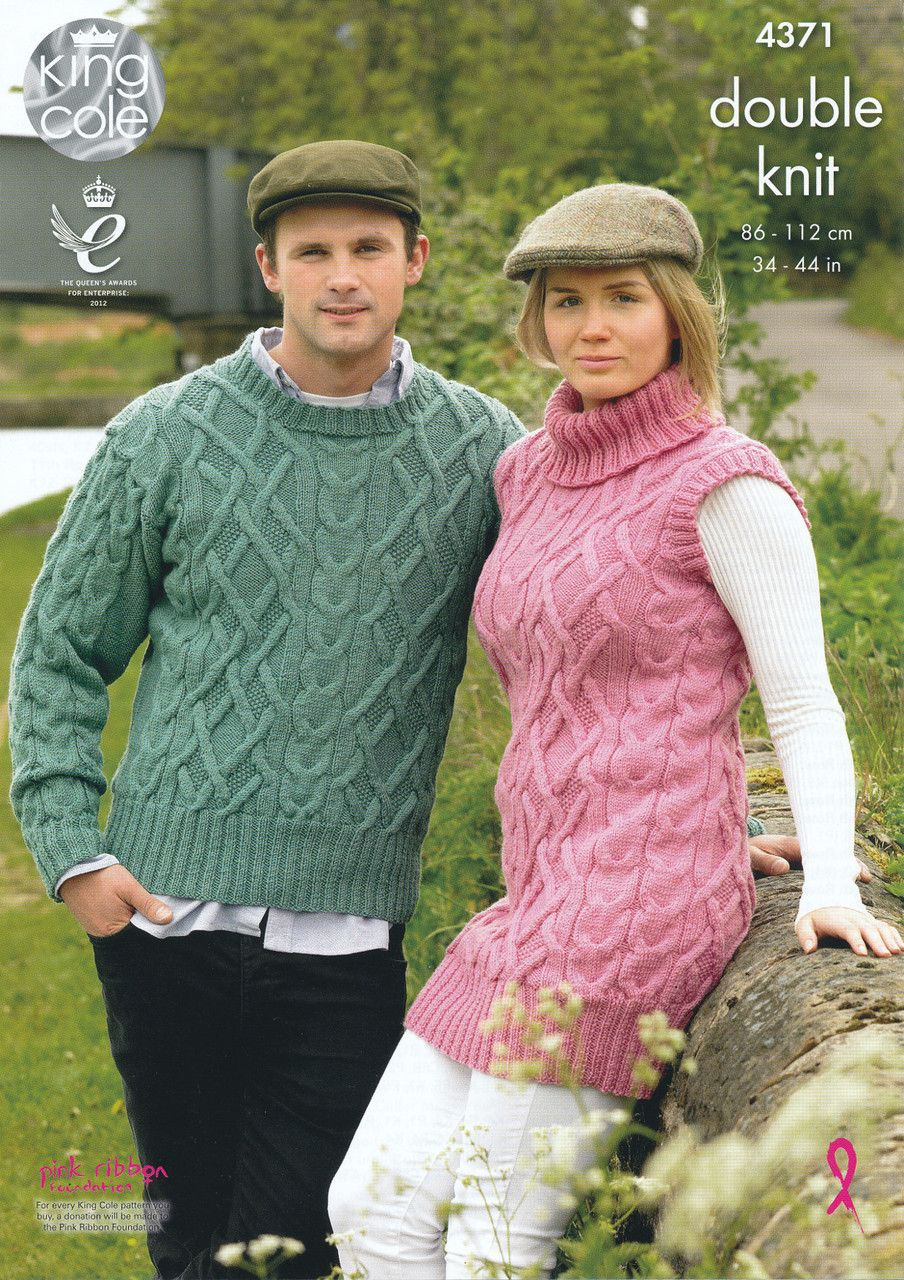 King Cole Double Knit Pattern - Ladies & Mens Sweater & Tunic (4371 ...