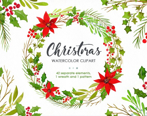 Watercolor Christmas Clipart Green Red Wreath New Year Pattern