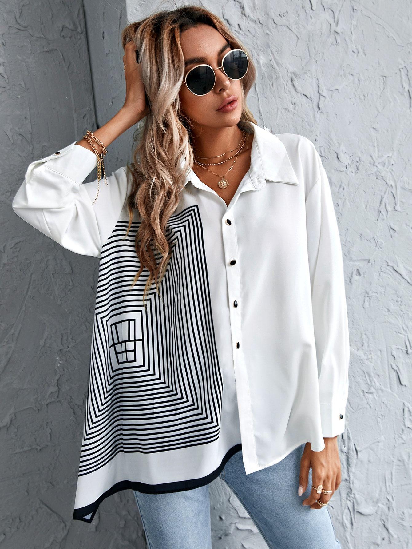 Black Friday 2020 Geo Print Button Up Blouse Shein Usa In 2020 Modestil Bluse Mit Punkten Bluse Mit Ruschen