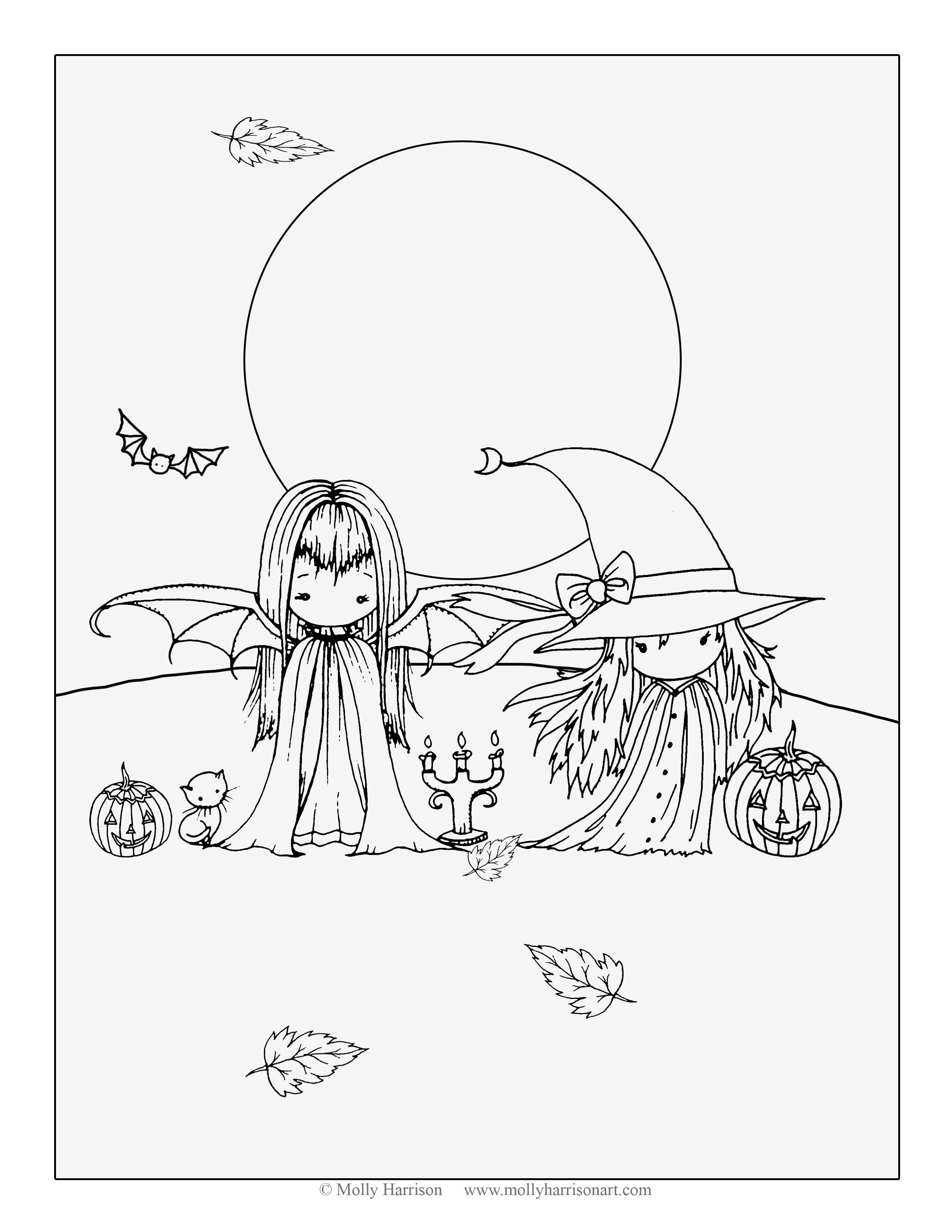 two little witches free halloween coloring page by molly harrison