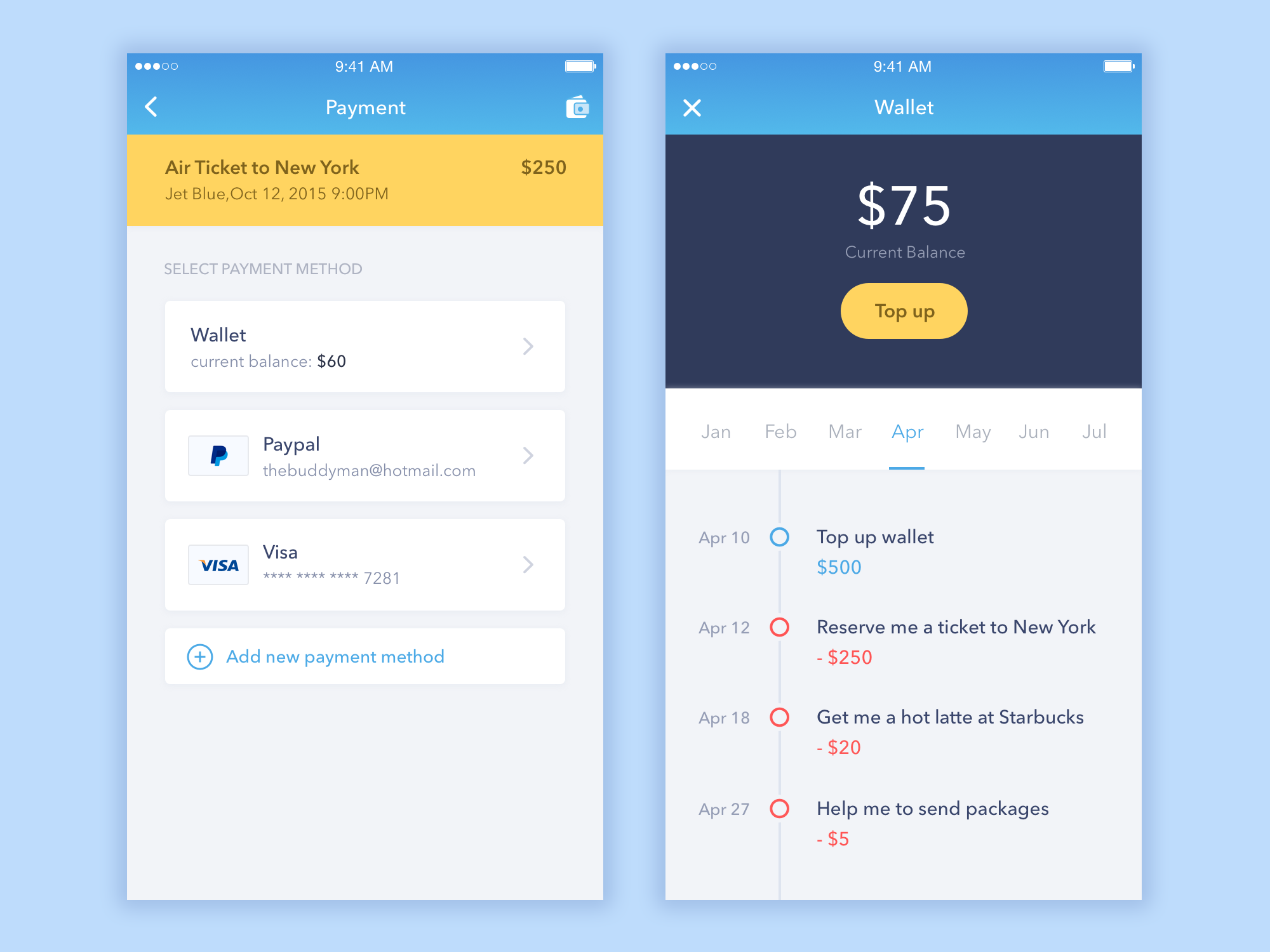 Payment Screen from Personal Assistant App Mobile UI