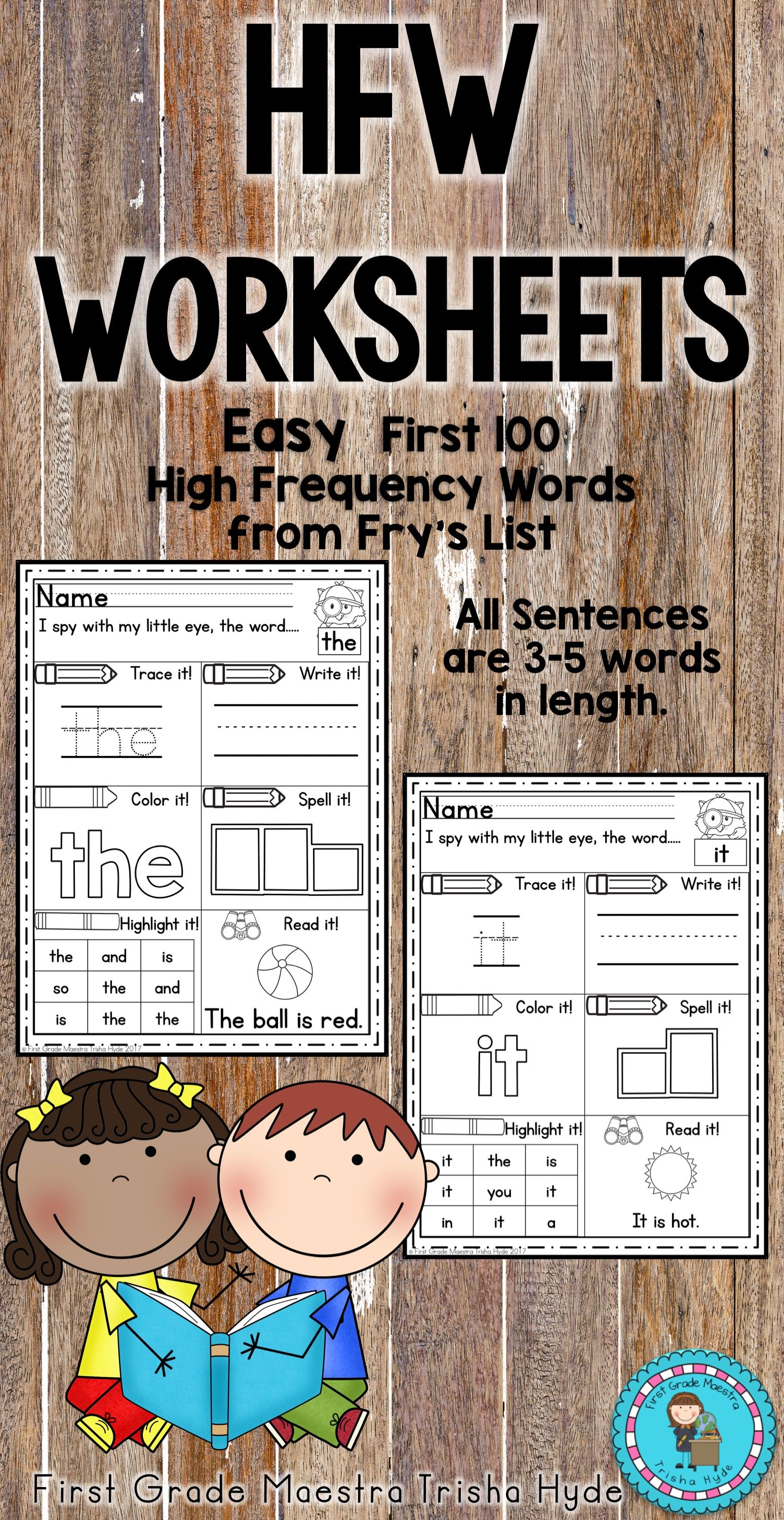 Sight Word Easy Worksheets Fry S First 100 Words