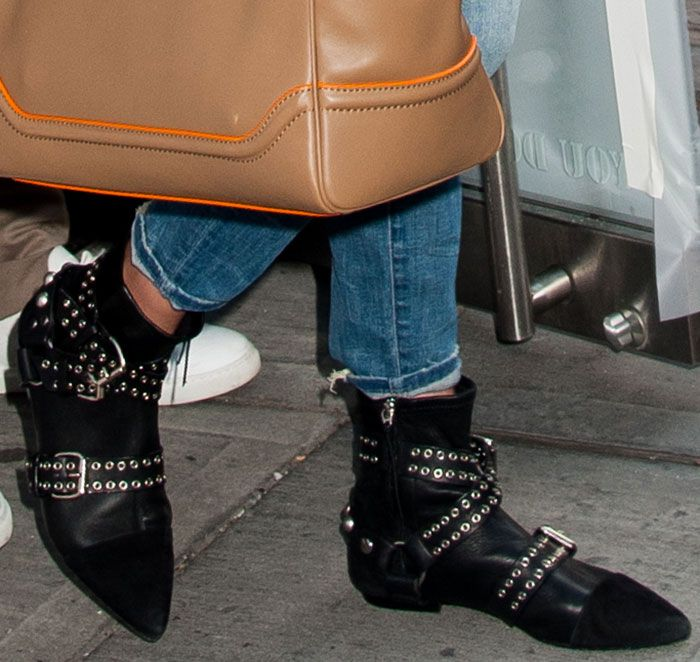 Gigi Hadid Flashes Flat Abs in Isabel Marant Eyelet Boots