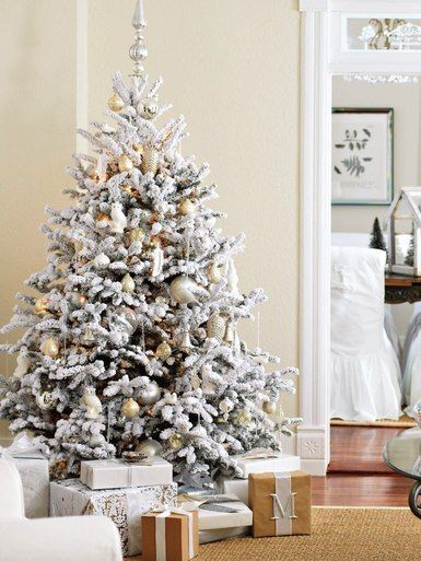 51ee562be50 30 Dreamy Flocked Christmas Tree Decoration Ideas - Christmas Celebration -  All about Christmas. Decorate in Snow-White Style