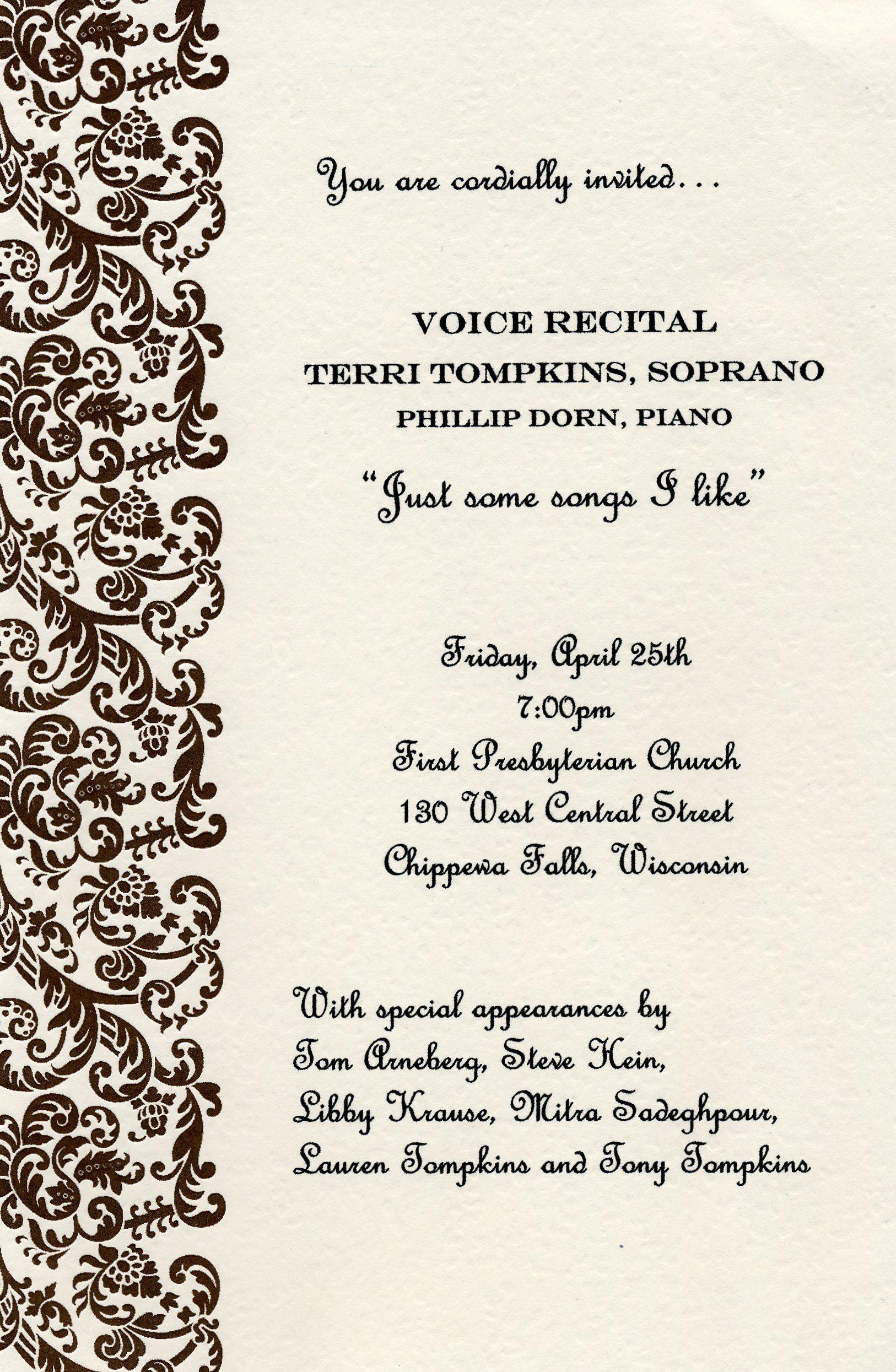 voice recital program template