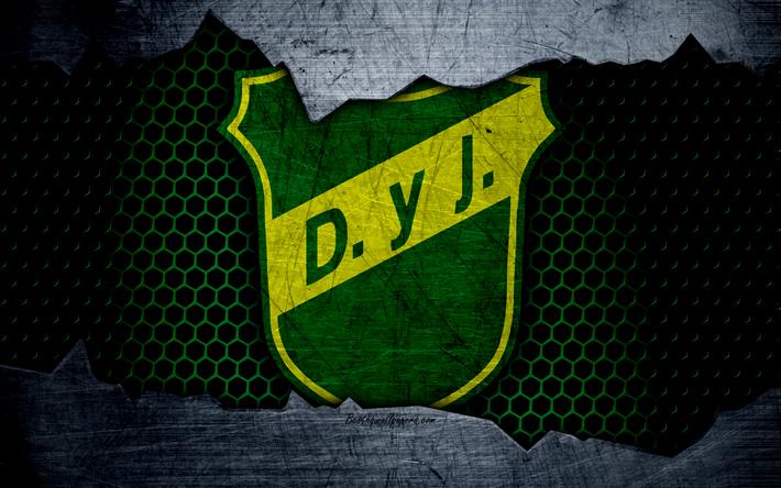 Scarica sfondi Difesa e Giustizia, 4k, Super, logo, grunge, Argentina, calcio, football club, struttura del metallo, dell'arte, della Difesa e della Giustizia FC