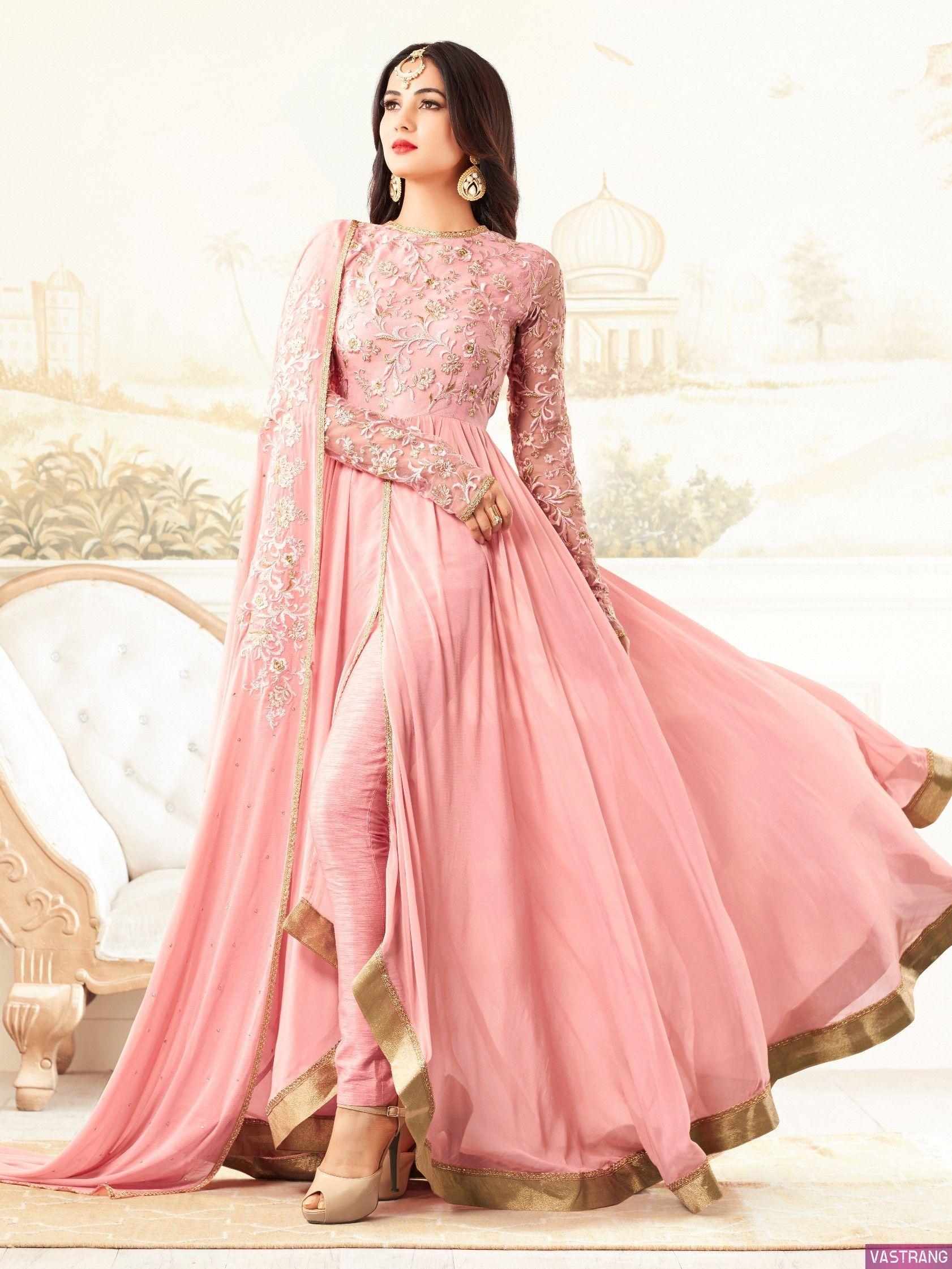 93bb7a299d Light PInk Georgette Floor Length Anarkali Type Salwar Suit | Heavy ...