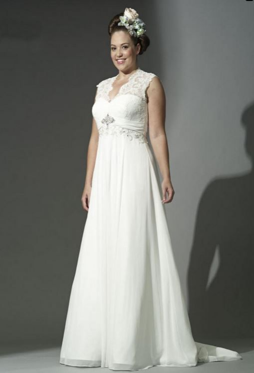 White Rose Plus WP229 Chiffon Empire Wedding Dress With Lace Top