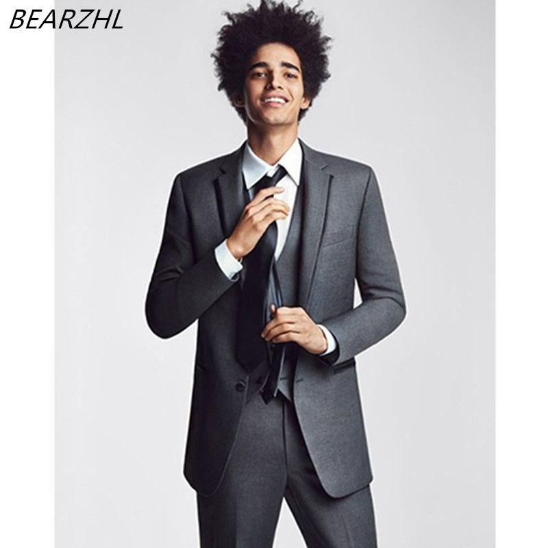 gray wedding dress for groom tuxedo 3 piece suit high quality ...