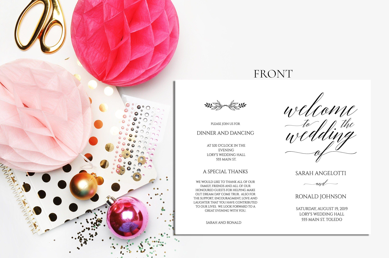 try before you buy Instant Download 100/% Editable minimal wedding program Wedding Program Template Simple Ceremony Program Printable