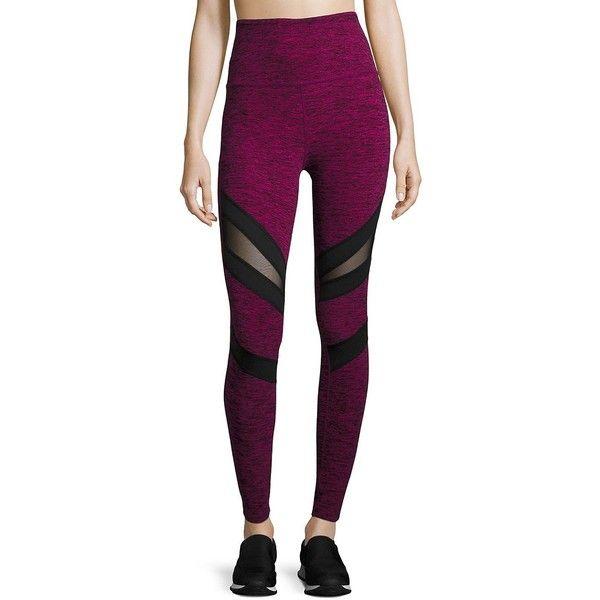 Beyond Yoga Slant Get Enough High Waist Leggings ($115) ❤ liked on Polyvore featuring pants, leggings, fleece-lined leggings, high-waisted pants, textured leggings, high waisted leggings and high-waisted leggings