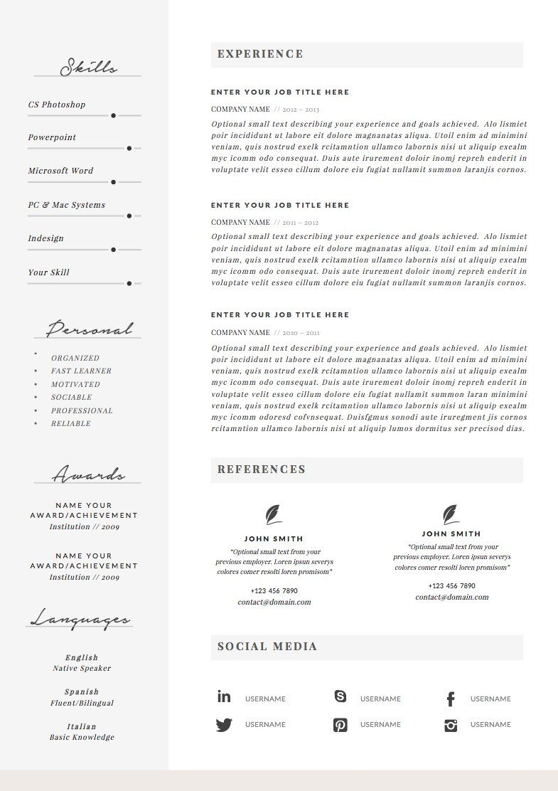 Resume Template 4 pages Charming in 2020 Resume