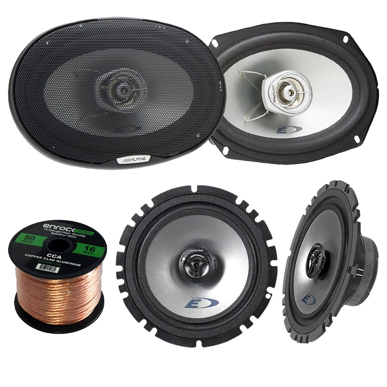 "2x Alpine SXE-1725S 6.5"" 80 Watt 2-Way Coaxial Car Audio Speakers Bundle  Combo With 2x SXE-6925S 6x9 Inch 280 Watts 2-Way Vehicle Speaker - 1 Enrock  50 Feet ..."