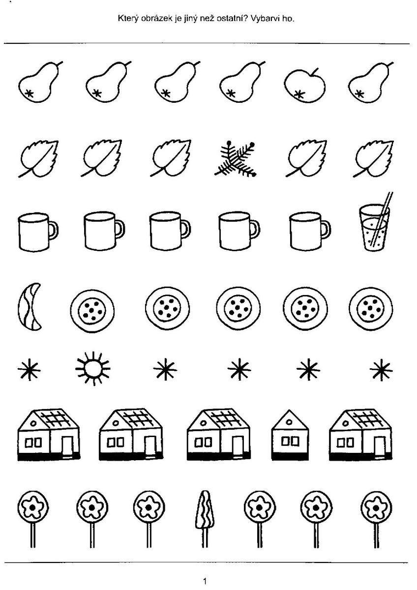 Zrakove Vnimanie Visual Discrimination Worksheets Preschool Learning Activities Preschool Worksheets [ 1200 x 848 Pixel ]