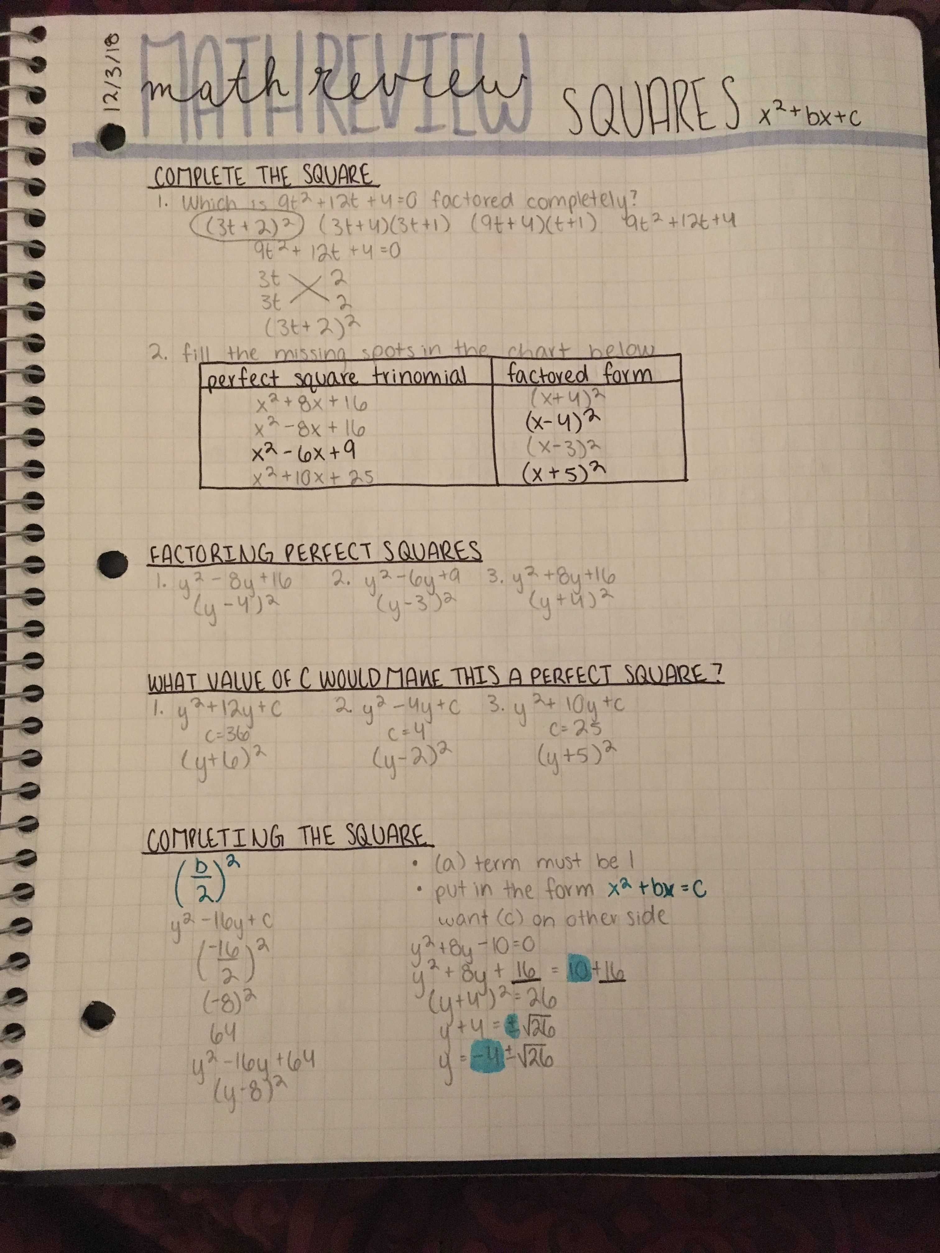 Algebra: Math Review-Squares Notes | Notes | Algebra, Precalculus, Math