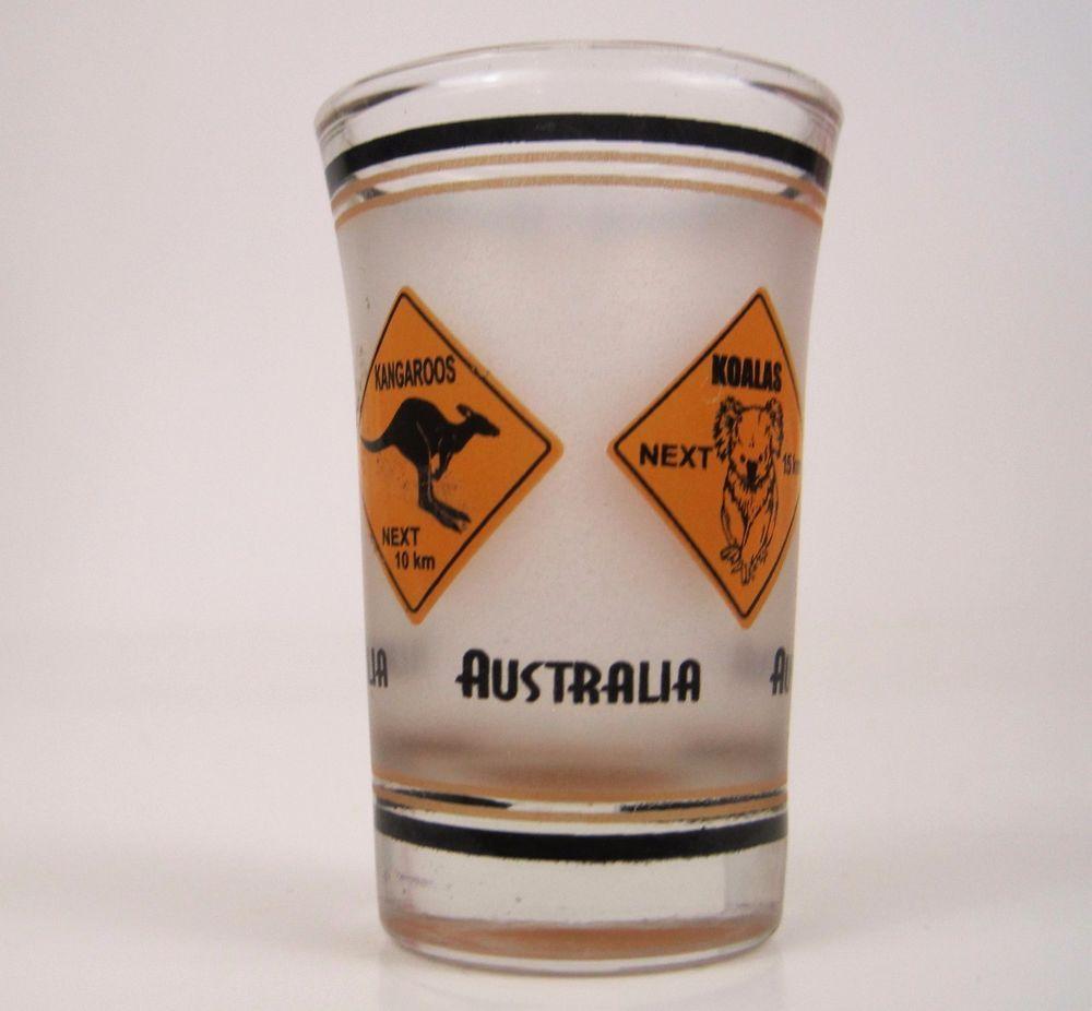 5d4f423c85c3 Vtg Australia Shot Glass Kangaroo Koalas Crossing Fluted Gold Bottom ...