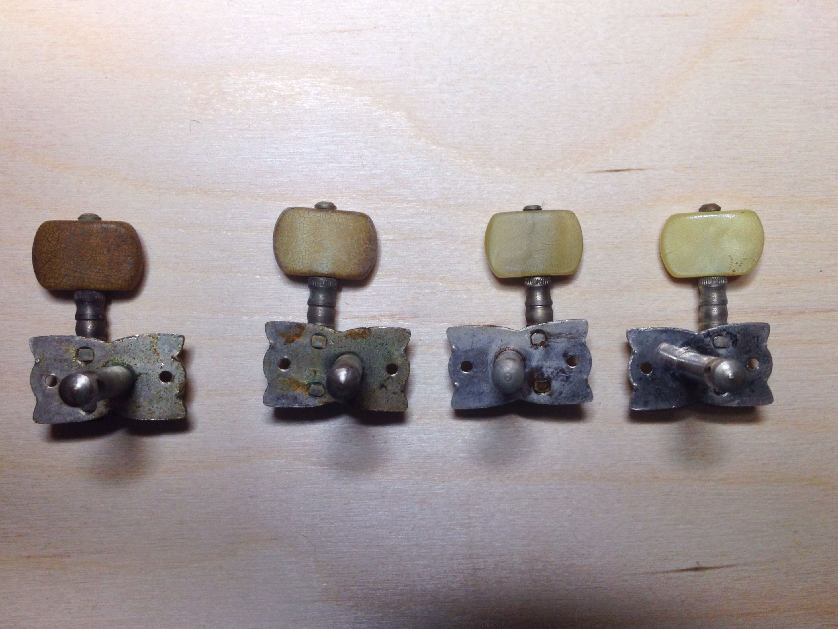 Colour matching old Hofner machine heads. Far left is an untreated ...