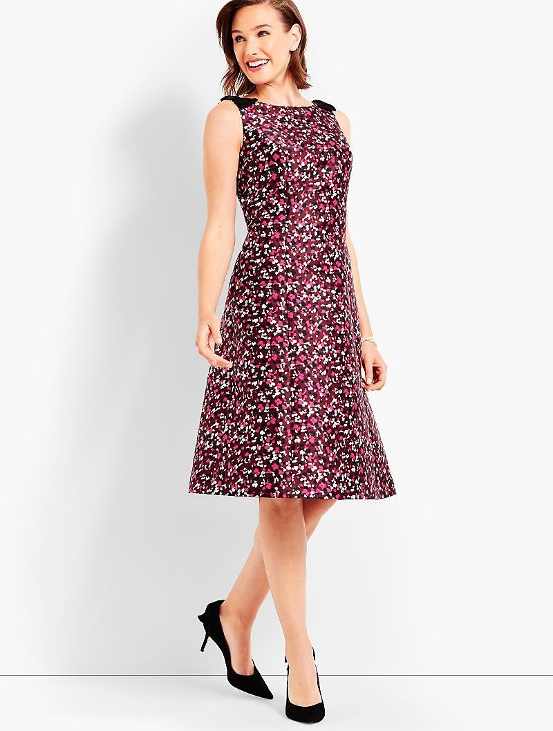 Bow Shoulder Confetti Print Dress Talbots Talbotsmustgiftguidecontest Confetti Dress Beautiful Dresses For Women Talbots Dress [ 1057 x 800 Pixel ]