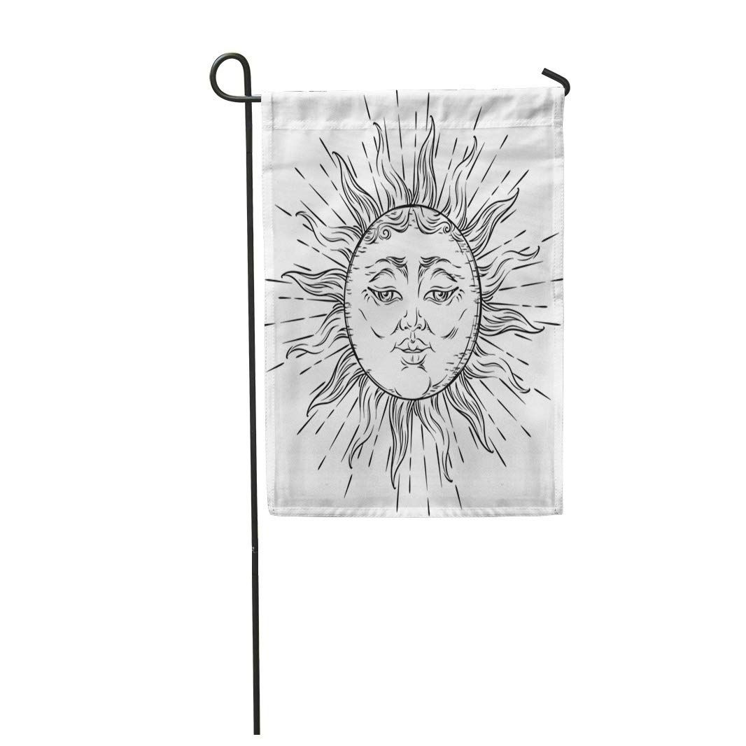Photo of Face Antique Sun Boho Chic Tattoo Moon Tarot Aged Garden Flag Decorative – Products