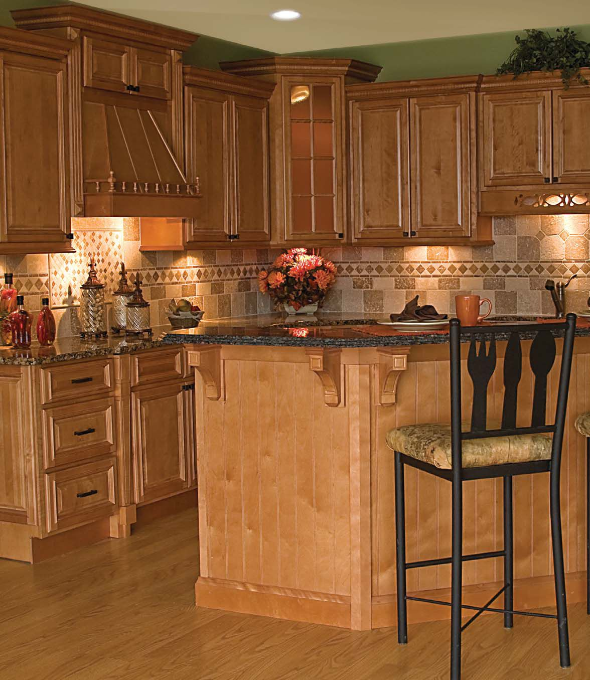 Oak cabinets and granite Oak cabinets and