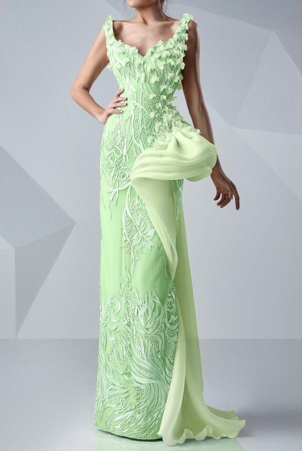MNM Couture Mint 3D Petal Applique Gown Couture Evening Dress ...