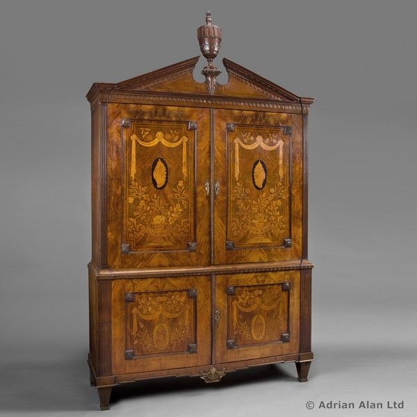 Delicieux A Dutch Neoclassical Mahogany Armoire With Floral Marquetry Inlay