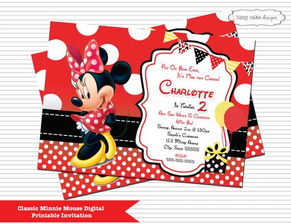 Red minnie mouse birthday invitation minnie by lizzycakedesigns red minnie mouse birthday invitation minnie by lizzycakedesigns stopboris Choice Image