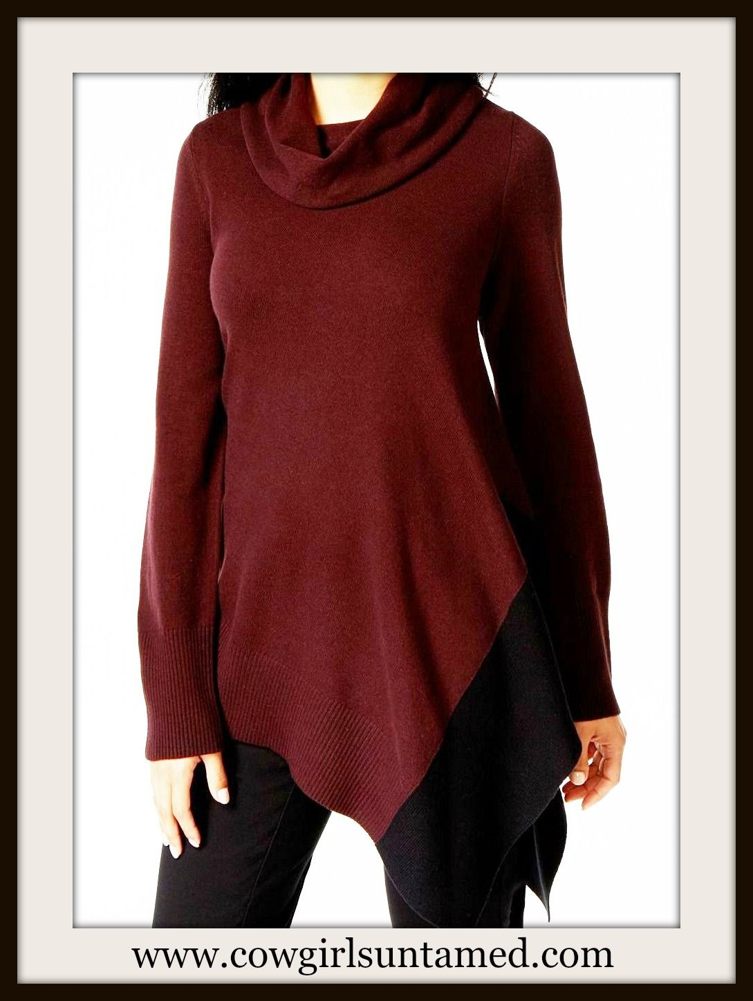 38ff6b58db2 ALFANI SWEATER Wine and Black Cowl Neck Asymmetrical Hem Designer Tunic  Sweater #tunicsweater #wine #burgundy #asymmetrical #sweater #designer  #cowgirl ...