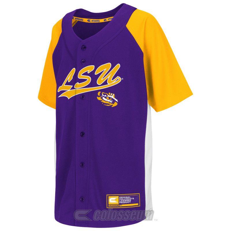 pretty nice 6d6e4 03ebe LSU Tigers YOUTH Dugout Baseball Jersey - Purple, Gold ...
