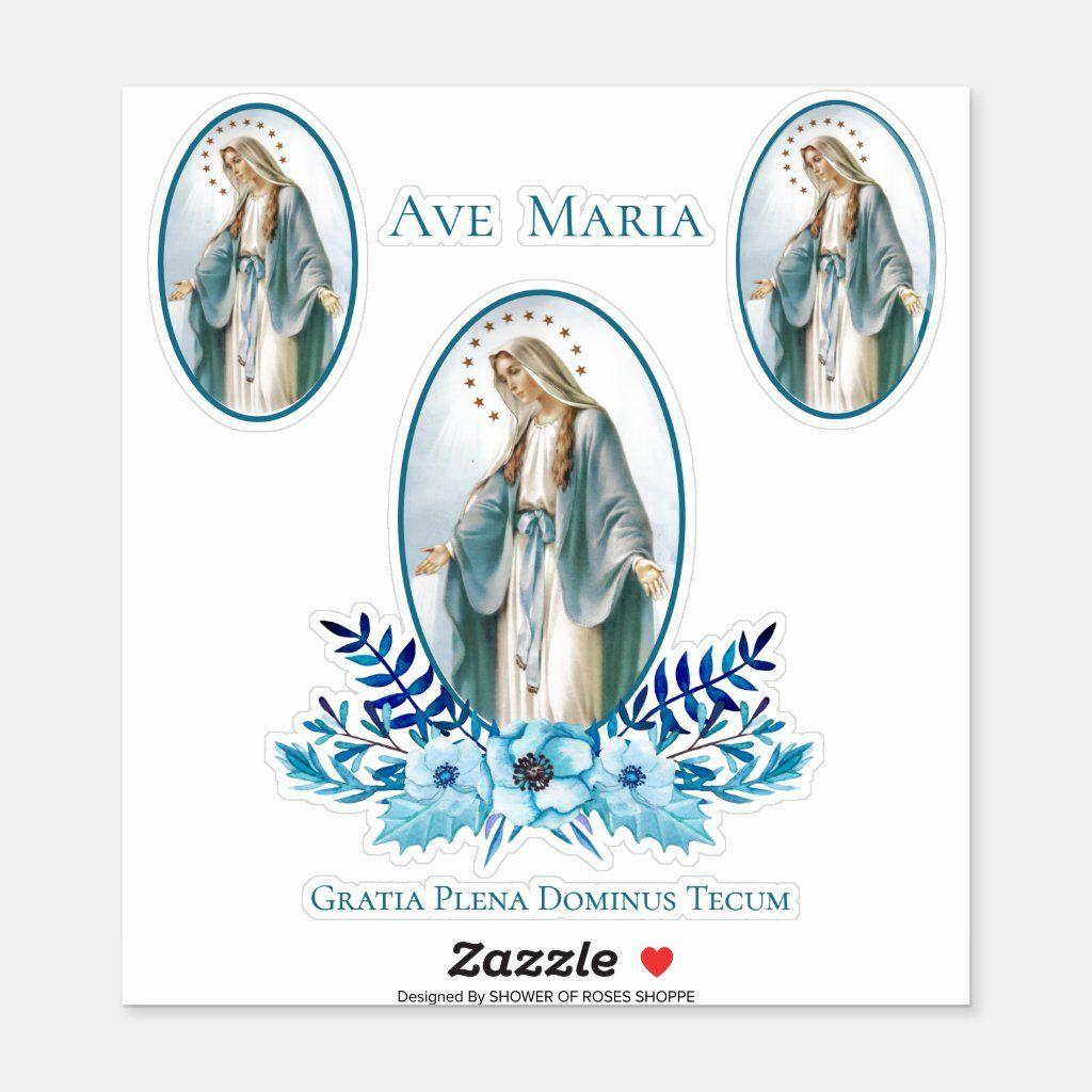 "Catholic Blessed Virgin Hail Mary Latin Sticker Size: Medium 6"" x 6"". Color: Matte White. Gender: unisex. Age Group: adult."