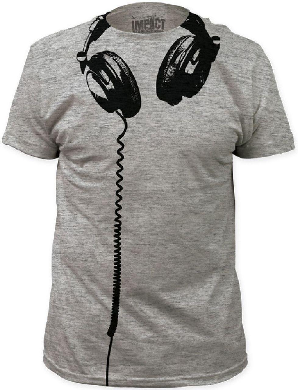 4dc37f276e7e0a Hanging Headphones Drawing Men's Gray T-shirt | Rocker Rags | shoes ...
