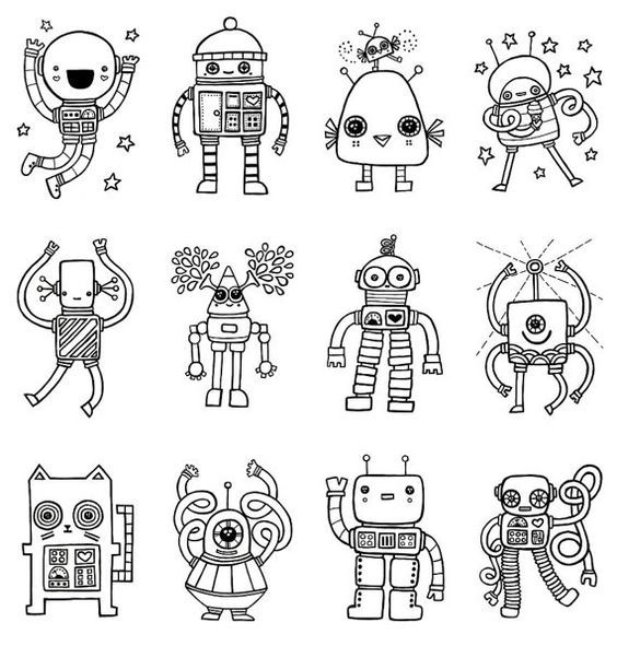 Robot Storytime Robots To Color From Etsy Robots Drawing Robot Art Doodle Drawings