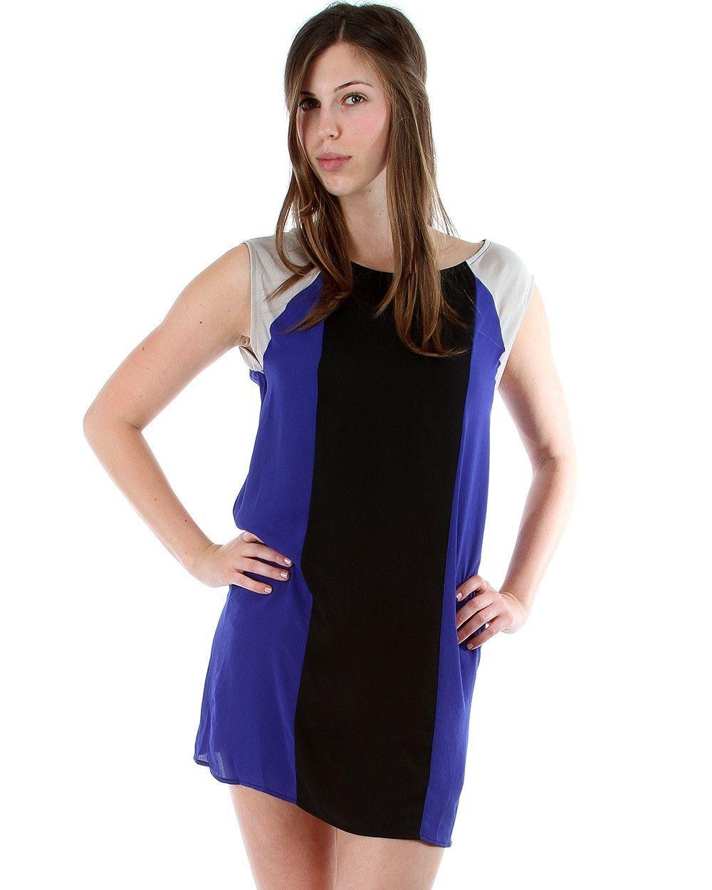ROYAL BLUE COLOR BLOCK LYSS LOO MOD DRESS